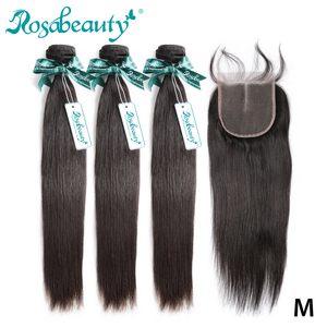 Rosabeauty 3 4 Bundles Straight Hair With Closure 8- 30 Inch Natural Color Brazilian Remy Human Hair Weave With Closure Frontal(China)
