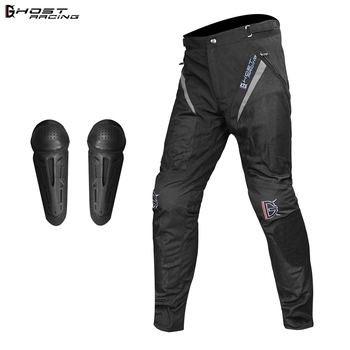 GHOST RACING  Motorcycle Pants Men Winter Windproof Protective Gear Motocross Pants Riding Trousers Moto Pants With KneePads