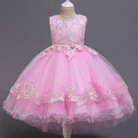 AmzBarley Girls Floral tutu Dress appliqués Princess dress Kids Christmas Birthday Party outfits Lace mesh even prom Ball Gowns