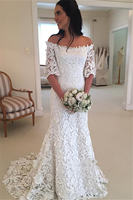 H wedding dress 2020 Lace Fabric Ever Perrty Bridal With Half Sleeve Strapless Zipper Back Sweep Train White Simple Bridal Dress