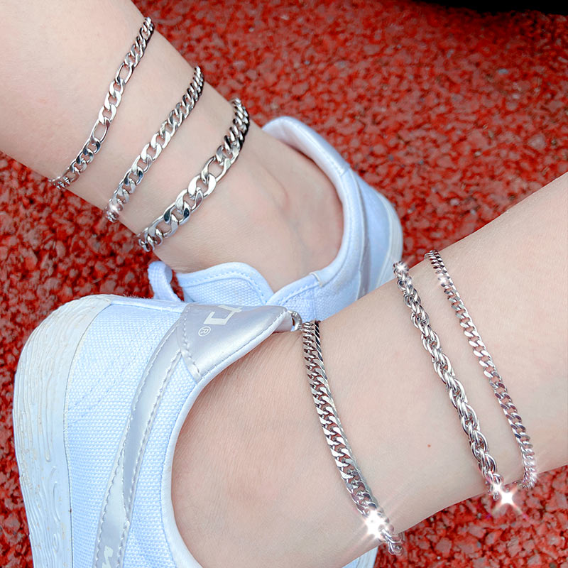 Flatfoosie Stainless Steel Anklet Bracelet For Women New Fashion Silver Color Twist Chain Anklet Personality Jewelry Gifts