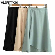 Женская шифоновая Асимметричная мини юбка элегантная однотонная