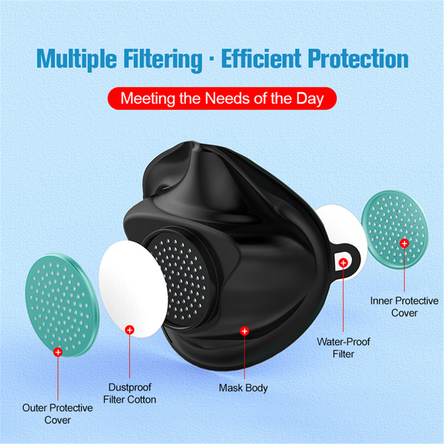Anti Dust flu Washable Earloop Masks  TPE Protective Silicone Mask Face Mouth Protect with Filter Element No Disposable 2