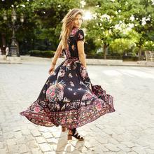 Boho Dress Women Summer V Neck Vintage Long Maxi Floral National Chiffon Party Beach Sundress