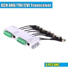8ch hd cvi/tvi/ahd transceptor passivo 8 canais vídeo balun adaptador transmissor bnc para utp cat5/5e/6 cabo 720p 1080p
