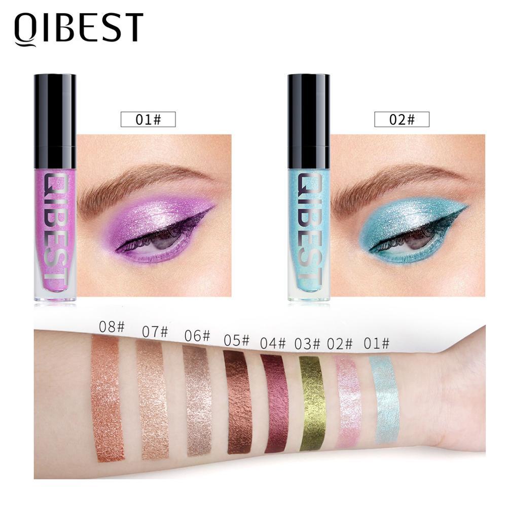 Qibest 8 cores líquido glitter sombra vara maquiagem sombra de olho shimmer e diamante sombra pigmento metálico cosméticos