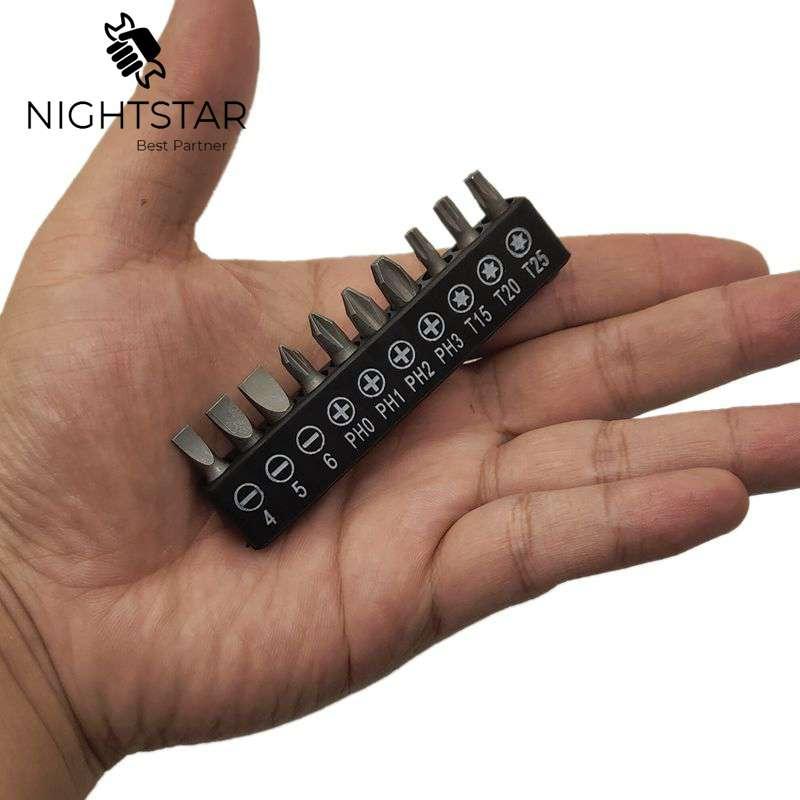 10Pcs Insert Bit Set Torx Flat Head Straight Cross Electric Screwdriver Screws Head / Black Color
