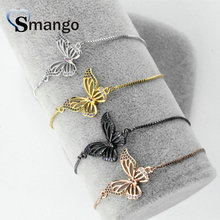 Wholesale Copper Micro Pave CZ Butterfly Shape Charm Bracelet In 4 Colors Top Quality Plating of 5 Pcs,B0059