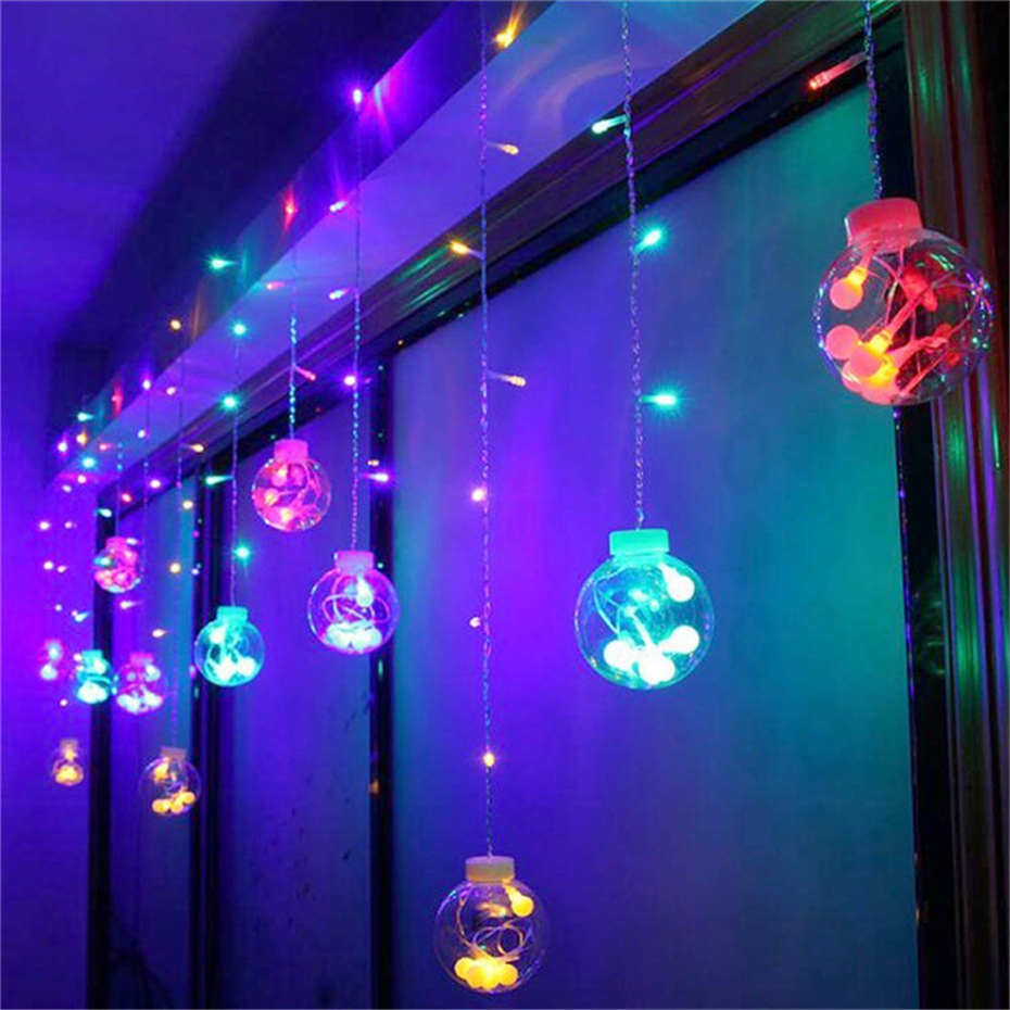 LED Curtain Wishing Globe Lights String Fairy Garland On The Window Indoor Bedroom Balcony Living Room Decoration Light