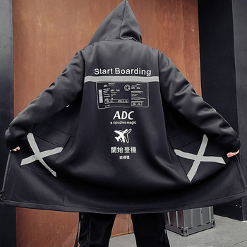 2021 Men Harajuku Hip Hop Coats Male Jacket Long Hoodie Cotton Fashion Swag Coats Jackets Streetwear Hombre Oversize Jacket image