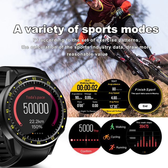 F1 Smart watch GPS watch Heart Rate tracker men smartwatch Multi-sport Mode SIM Card Pedometer for Android Ios Phones 5