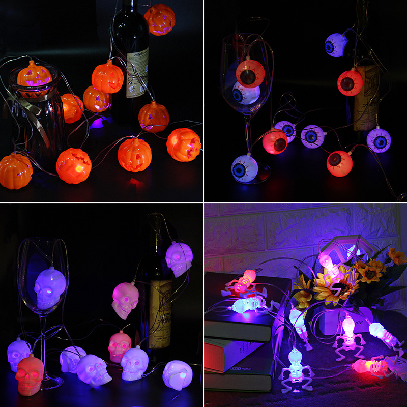 3M 10 LED lights Halloween Pumpkin String Lights 3D Halloween Lantern Party Home DIY Decor Warm White Battery Operated lights in Party DIY Decorations from Home Garden