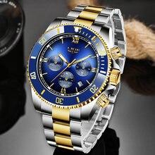 Lige Лидирующий бренд Роскошные мужские часы сапфировые автоматические
