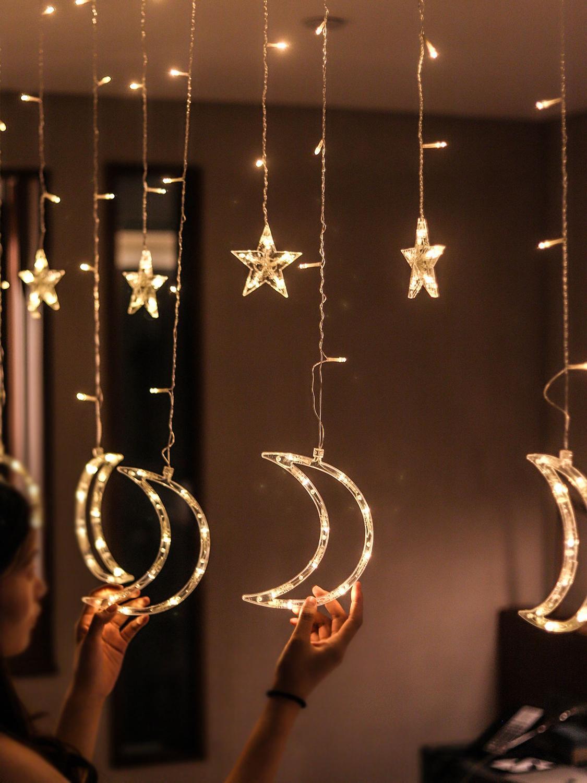 LED String Light Moon Star Curtain Lamp For Home Hanging Garland Christmas Tree Decor Holiday Lighting Wedding 220v Fairy Lights