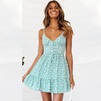 Women Dress Spaghetti Strap Cami Dress Green V Neck Ladies Summer Dress Sundress Casual Ruffle Button Female Mini Dress D30 цена 2017