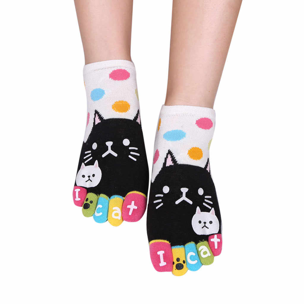 Women Men Cute Cats Socks Funny Five Finger Socks Cat cute cat finger socks Funny pure cotton toe socks 2020 new fashion