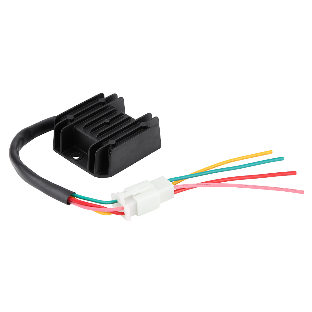Motorcycle Regulator 4 Wires 4 Pins Regulator Rectifier Stabilizer 12 Voltage Motorcycle Regulator for 150-250CC Motorcycle Scooter Moped ATV Black