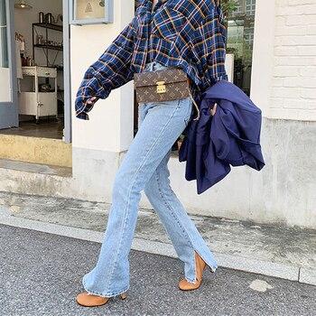2019 Autumn Fashion Women High Waist Denim Jeans Straight Jeans Side Split Jeans Vintage Female Long Capri Pants 4