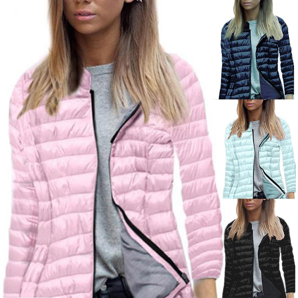 Ultra-light Thin Jacket Women 2019 Autumn Winter Jacket Slim Short Warm Standing Collar Coat Women's Outerwear