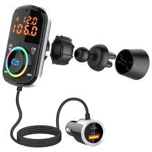 JINSERTA transmisor FM para coche, Bluetooth V5.0, adaptador de Radio inalámbrico, reproductor de música MP3, QC3.0, USB tipo C, PD18W, carga rápida