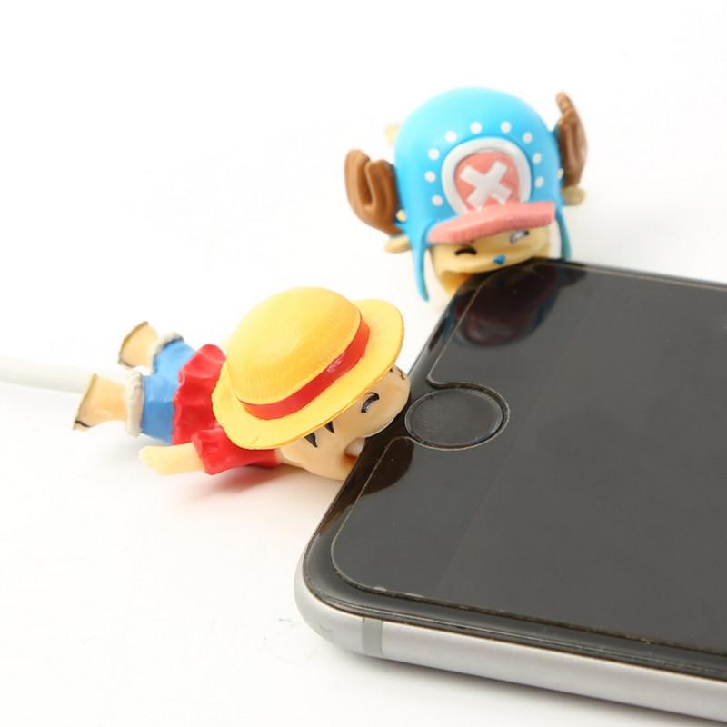 1pc criativo um pedaço luffy protetor usb carregador de linha dados cabo de fio proteção capa cabo dobadoura para o telefone presente figura brinquedos