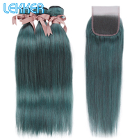Lekker Hair Brazilian Straigtht Bundles with Closure Free Part Pre Colored Remy Human Hair Blue Hair Extension 10 26 inches