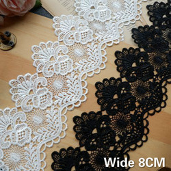 8CM Wide Exquisite White Black Cotton Embroidered Fringe Ribbon 3d Flowers Lace Trim Curtains Dress DIY Home Sewing Supplies