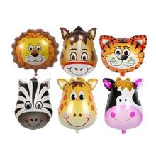 Различные голова героя мультфильма гелиевый воздушный шар фольги Воздушные шары лев тигр Зебра Корова и другие животные головы День рождения воздушные шары