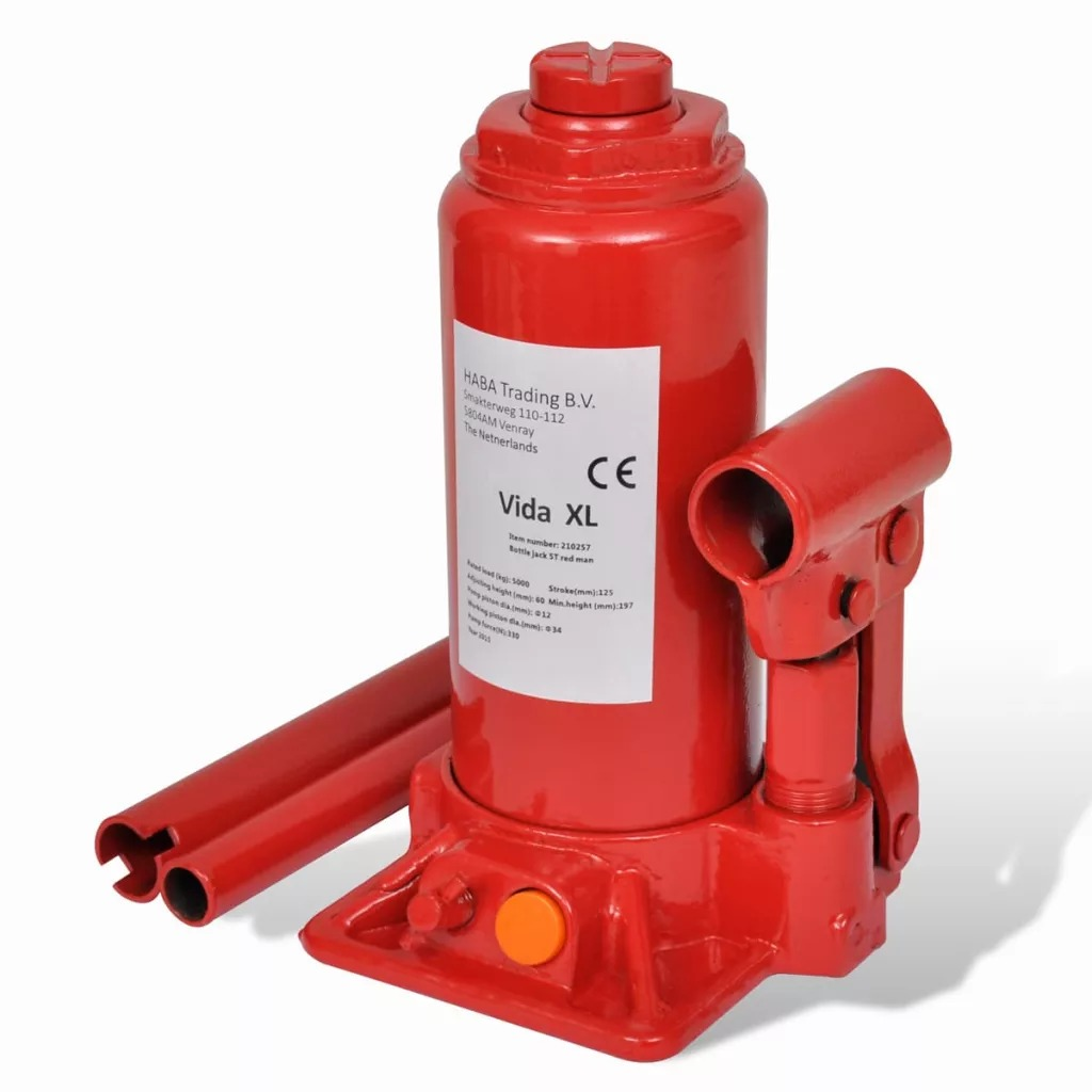 VidaXL Portable Hydraulic Bottle Jack 5 Ton Red Car Lift Automotive Lifter Vehicle Bottle Jack Repair Tool V3