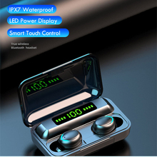 سماعات لاسلكية F9 5 TWS بلوتوث 5.0 LED عرض 8D باس ستيريو البسيطة الرياضة في الأذن سماعات الأذن يدوي ايفي سماعة سماعات