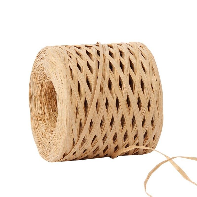 С перекрестными шнурками из волокна «раффия» Бумага лента 200 м украшения свадебные веревка лента для натуральный Бумага шпагат подарок веч...