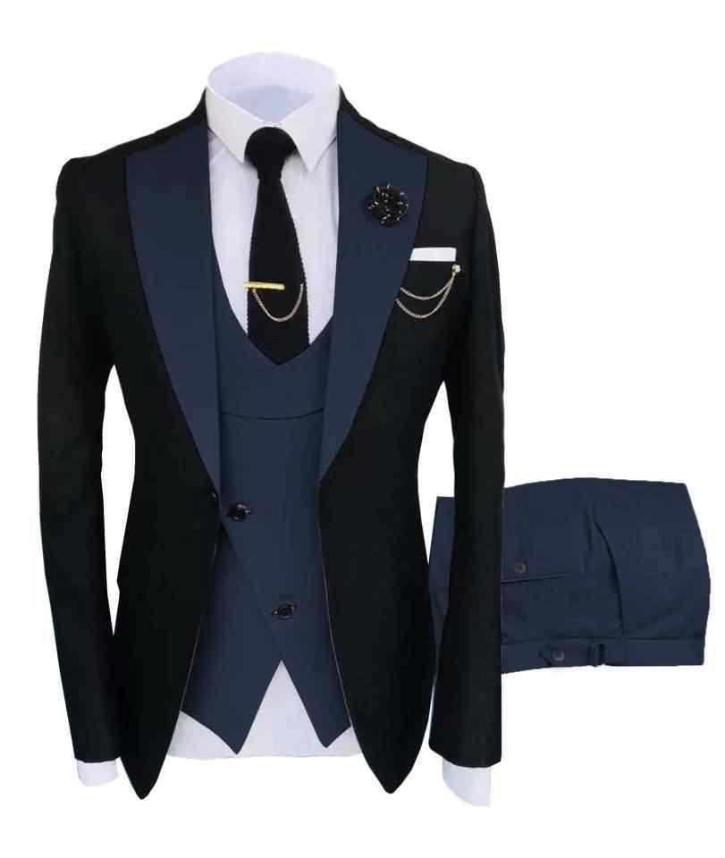 Mens Peak Lapel One Button 3 Pieces Slim Fit Wedding Groom Tuxedo