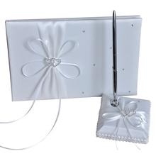 Libro de firmas de invitados de boda de 24,5x16Cm, juego de portalápices con lazo de cinta, libro de visitas de fiesta Vintage, novia y novio, blanco y rojo