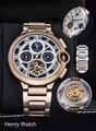 Роскошные брендовые новые мужские часы сапфировые автоматические механические розовое золото из нержавеющей стали Tourbillion Скелет Луна фаза...