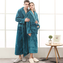 On Sale Lovers Thick Warm Winter Bathrobe Men Soft as Silk Extra Long Kimono Bath Robe Male Dressing Gown for Mens Flannel Robes soft extra long men women warm coral flannel bath robe mens kimono bathrobe male dressing gown lovers winter warm sleep robes