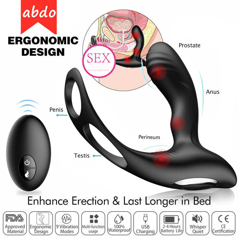 abdo Male Prostate Massage Vibrator Anal Plug Silicone Waterproof Prostata Stimulator Butt Delay Ejaculation Ring Toy For men