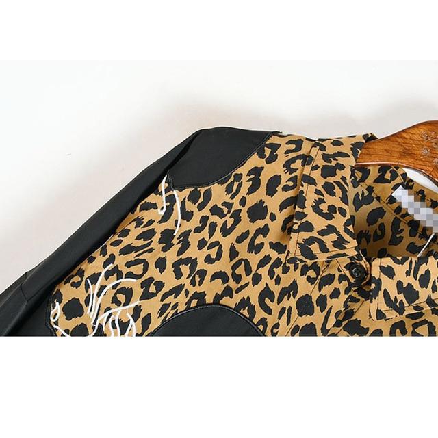 XITAO Europe Style Leopard Print Stitching Irregular Dress Women Long Sleeve Loose Plus Size Chiffon Dresses for Women WJ1018 5