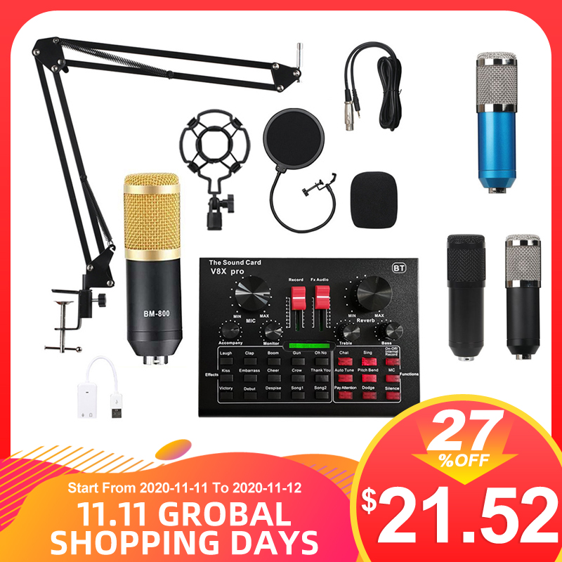 BM800 Pro Microphone Mixer Audio dj MIC Stand Condenser USB Wireless Karaoke KTV Professional Recording Live Bluetooth SoundCard