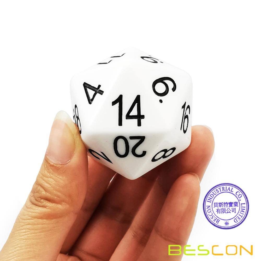 Bescon Jumbo Glowing D20 38MM, Big Size 20 Sides Dice 1.5 inch, Big 20 Faces Cube in Various Solid, Glitter, Glowing Colors 12