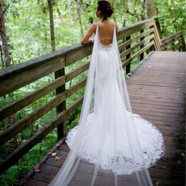 شال زفاف كاب لون أبيض عاجي تول طويل عباءة شال شجاحي