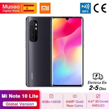 Перейти на Алиэкспресс и купить Глобальная версия мобильных телефонов Xiaomi Mi Note 10 Lite 8G 128G 64-мегапиксельная четырехъядерная камера 6,47 ''изогнутый AMOLED экран 5260mAh 30W быстрая зар...