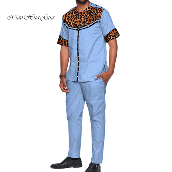 African Design Clothing Casual Men Jacquard Top Shirts and Pants Sets Bazin Riche Men Print Pearls 2 Pieces Pants Sets WYN722