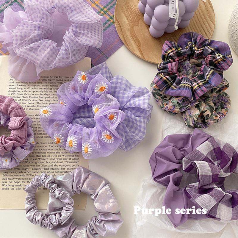 AOMU Korean Purple Lattice Flower Embroidery Daisy Net Yarn Elastic Hair Bands Summer Hair Accessories For Women
