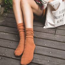 New Autumn winter Solid knitted cotton socks Middle Tube Women Socks Daily Basic Colorful medias