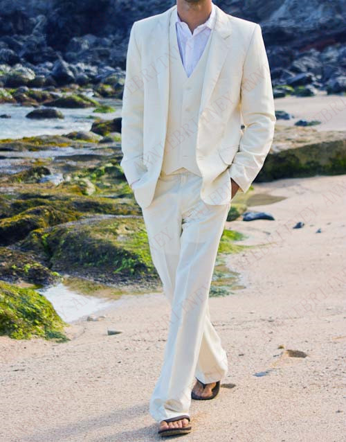 ANNIEBRITNEY 2019 Latest Coat Pant Designs Ivory Casual Linen Men Suits For Wedding Custom Made Summer Beach Groom Tuxedos Set
