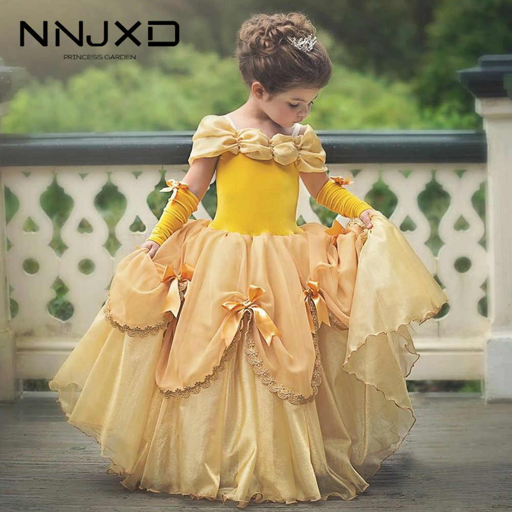 Girl Princess Dress up Halloween Birthday Carnival Dress,Yellow Dress Flower Girl Dress for 2-8 Years