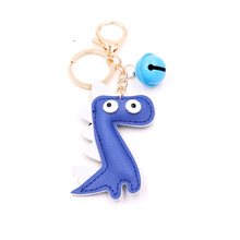 2019 New Creative Dinosaur Keychain PU Leather Bag Pendant Personality Bell Key Ring Gift