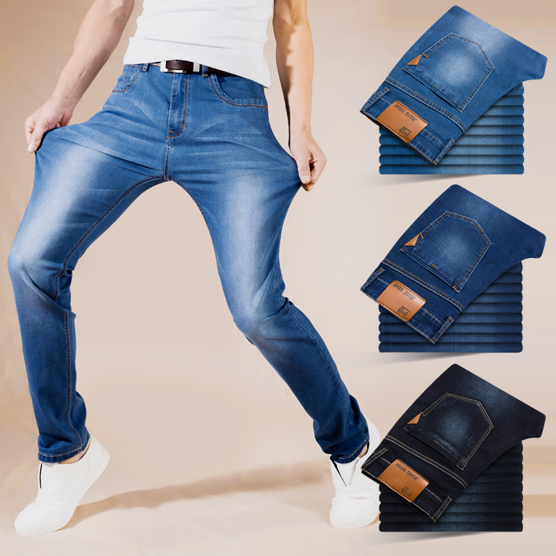 2019 Summer Ultra-Thin Men Ultra-stretch Jeans Young MEN'S Business Straight-Cut Loose-Fit Breathable Fashion Casual Trousers