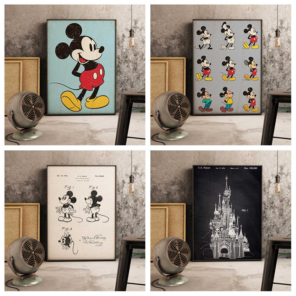 Hd Print Modulaire Foto Canvas Schilderij Nordic Retro Cartoon Mickey Mouse Poster Voor Woonkamer Home Decoration Wall Art Frame