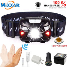 ZK20 LED Headlamp Mini USB Rechargeable Sensor Headlight Motorcycle Camping Light Portable Torch EDC